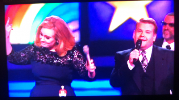 Adele, James Corden and George Michael at the Brit Awards 2012